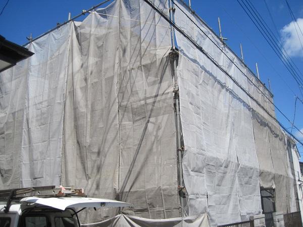 神奈川県川崎市 外壁塗装 仮説足場設置 メッシュシート