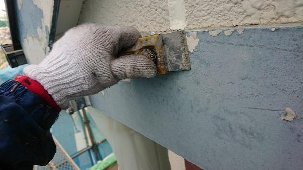 神奈川県川崎市 外壁塗装 屋根塗装 下地処理 ケレン作業 スクレーパー